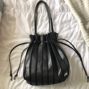 Zara Drawstring Genuine Leather and Suede Bag